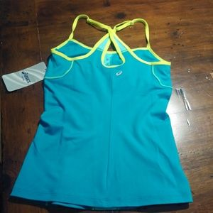 Xs Asics Workout top built in bra blue NWT